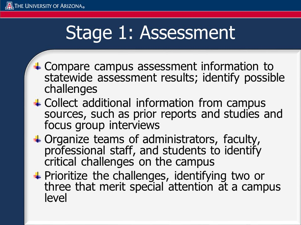 Stage 1: Assessment Compare campus assessment information to statewide assessment results; identify possible challenges Collect additional information from campus sources, such as prior reports and studies and focus group interviews Organize teams of administrators, faculty, professional staff, and students to identify critical challenges on the campus Prioritize the challenges, identifying two or three that merit special attention at a campus level