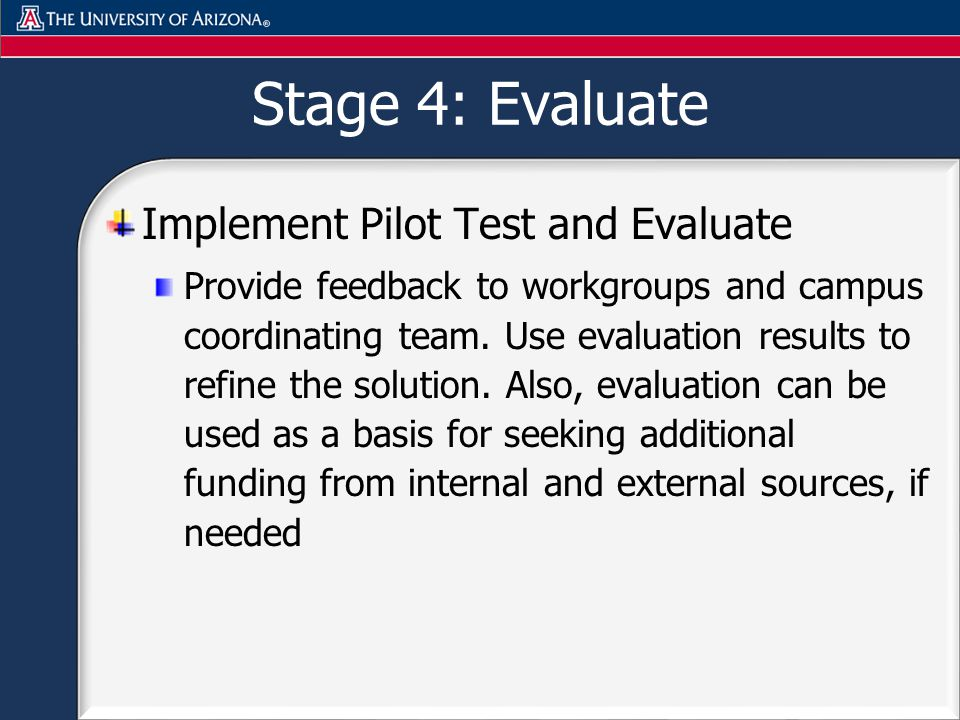 Stage 4: Evaluate Implement Pilot Test and Evaluate Provide feedback to workgroups and campus coordinating team.