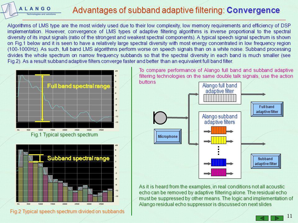 10 Advantages of subband adaptive filtering: DSP clock Full band adaptive filter T=0.1s – filter time span L F = F S x T Sample rate F S =8000 Full ba