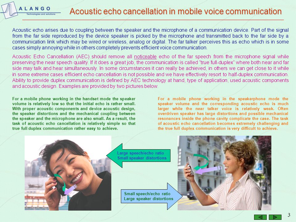 2 Presentation roadmap Acoustic echo cancellation in mobile voice communication Place of acoustic echo cancellation in voice communication Textbook ac