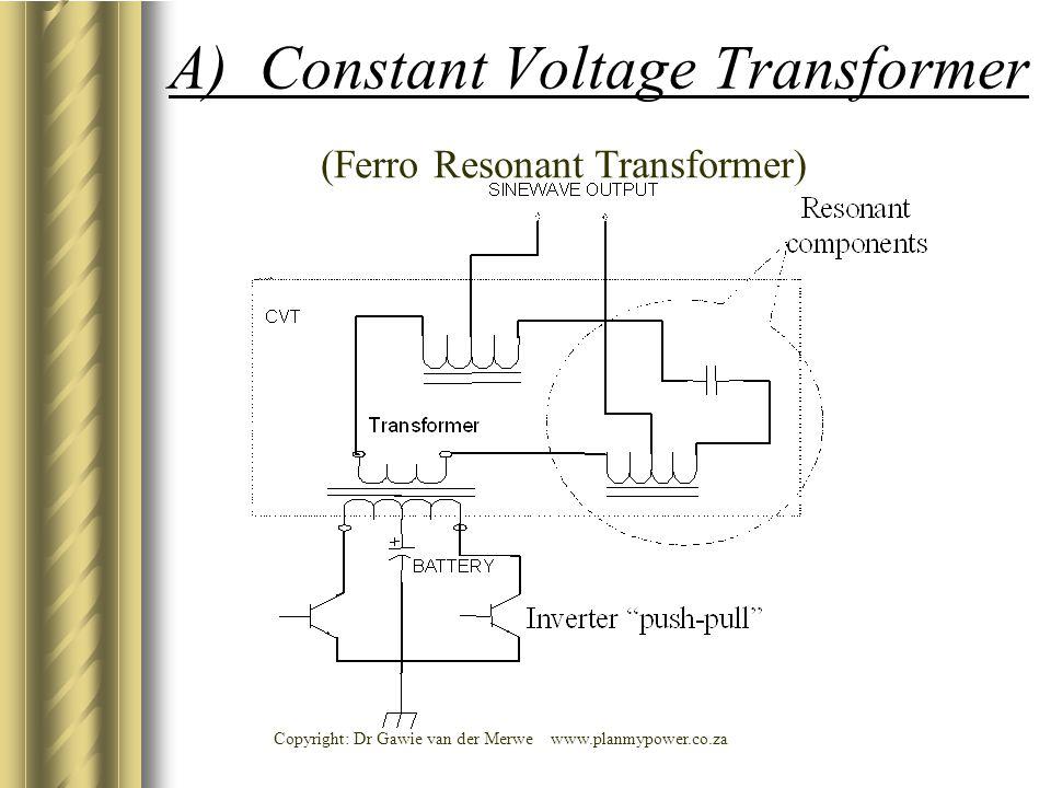 Copyright: Dr Gawie van der Merwe www.planmypower.co.za A) Constant Voltage Transformer (Ferro Resonant Transformer)