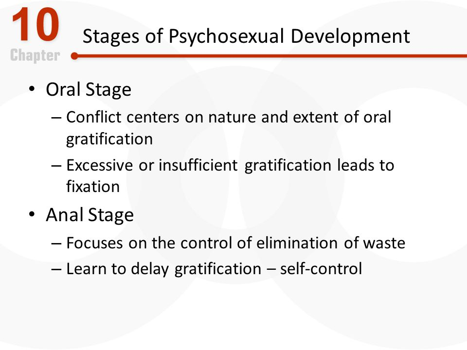 Stages of Psychosexual Development Oral Stage – Conflict centers on nature and extent of oral gratification – Excessive or insufficient gratification leads to fixation Anal Stage – Focuses on the control of elimination of waste – Learn to delay gratification – self-control
