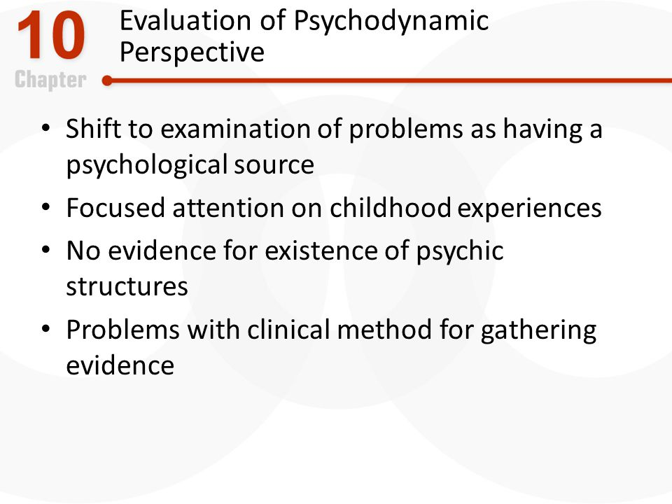 Evaluation of Psychodynamic Perspective Shift to examination of problems as having a psychological source Focused attention on childhood experiences No evidence for existence of psychic structures Problems with clinical method for gathering evidence