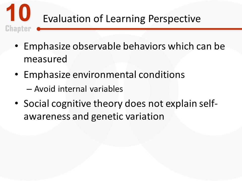 Evaluation of Learning Perspective Emphasize observable behaviors which can be measured Emphasize environmental conditions – Avoid internal variables Social cognitive theory does not explain self- awareness and genetic variation