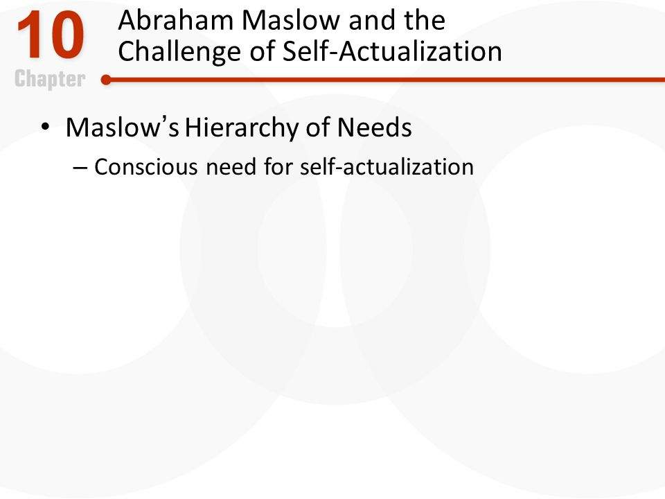 Abraham Maslow and the Challenge of Self-Actualization Maslows Hierarchy of Needs – Conscious need for self-actualization