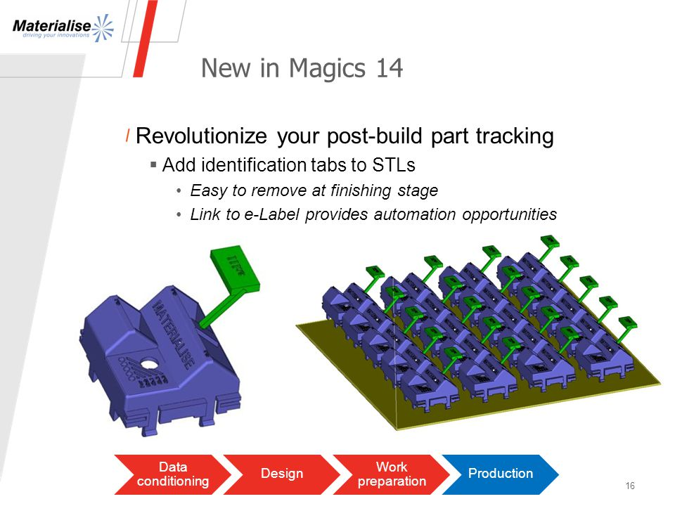 New in Magics 14 Revolutionize your post-build part tracking Add identification tabs to STLs Easy to remove at finishing stage Link to e-Label provides automation opportunities 16 Data conditioning Design Work preparation Production
