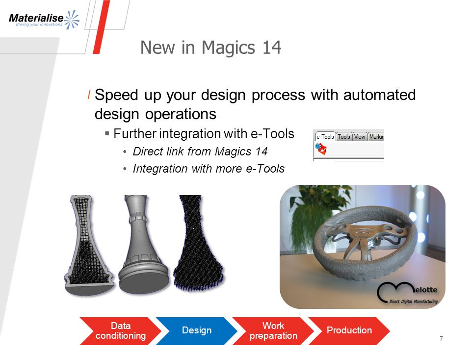 Save time & money with automated support generation Already in Magics 8 Data conditioning Design Work preparation Production Optimize buildsEfficiently prepare files for building