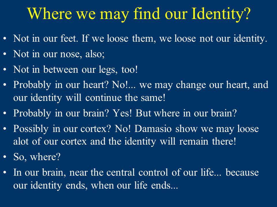 Where we may find our Identity.Not in our feet. If we loose them, we loose not our identity.