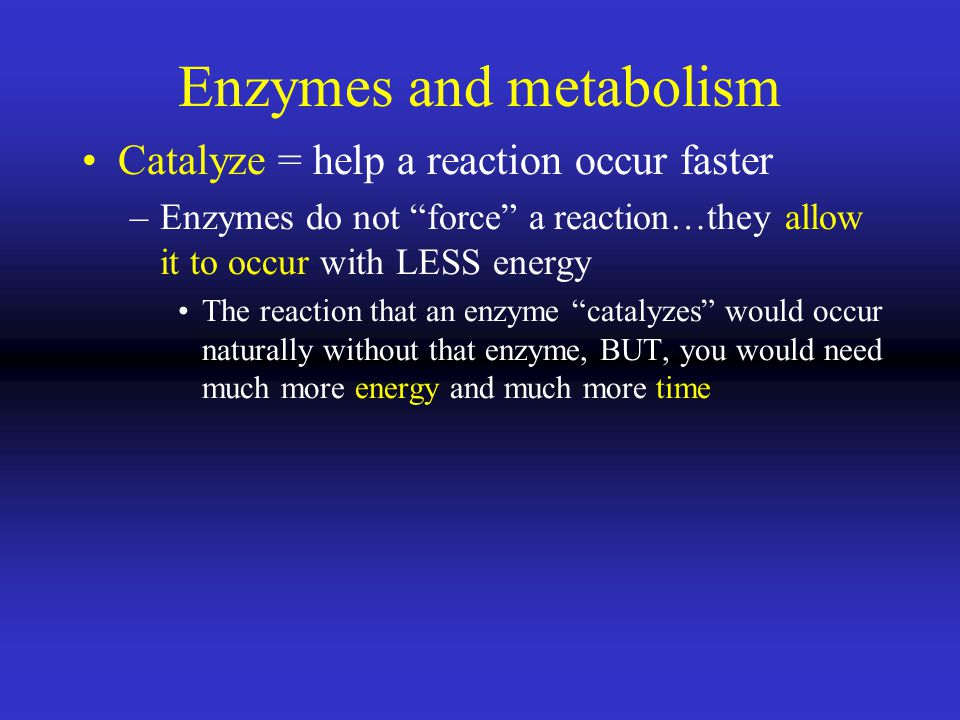 Enzymes and metabolism Catalyze = help a reaction occur faster –Enzymes do not force a reaction…they allow it to occur with LESS energy The reaction that an enzyme catalyzes would occur naturally without that enzyme, BUT, you would need much more energy and much more time