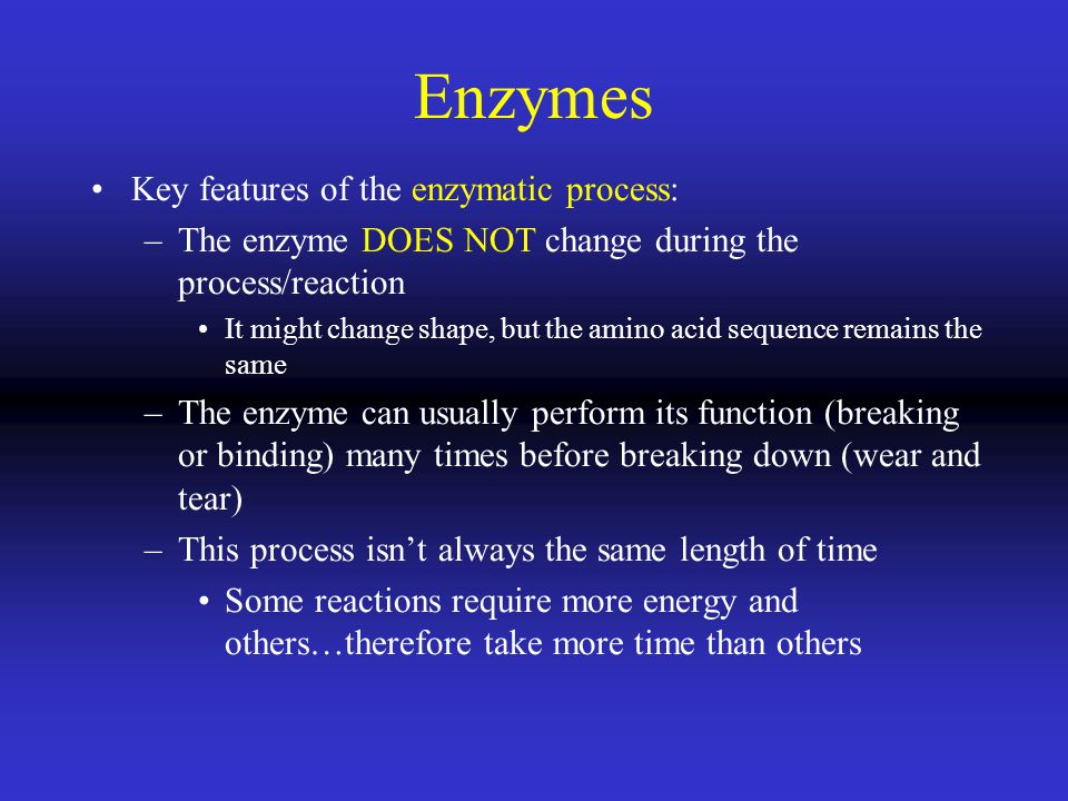 Enzymes Key features of the enzymatic process: –The enzyme DOES NOT change during the process/reaction It might change shape, but the amino acid sequence remains the same –The enzyme can usually perform its function (breaking or binding) many times before breaking down (wear and tear) –This process isnt always the same length of time Some reactions require more energy and others…therefore take more time than others