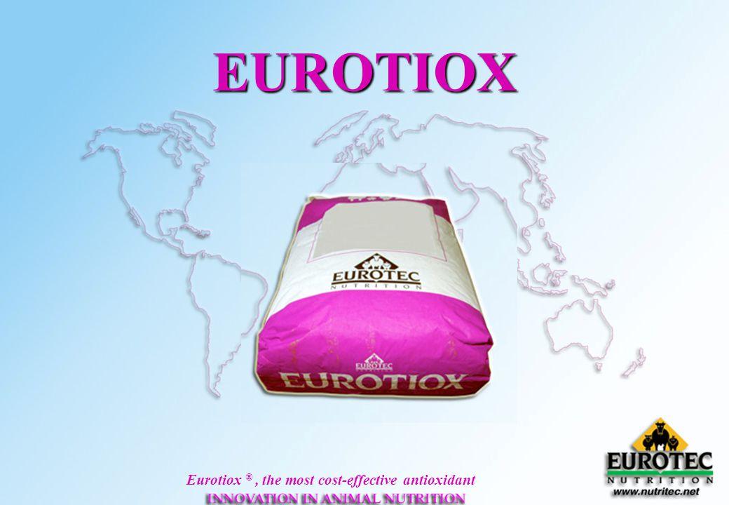 Eurotiox ®, the most cost-effective antioxidant Oxidation Process involving Oxygen & lipids Lipids temp.