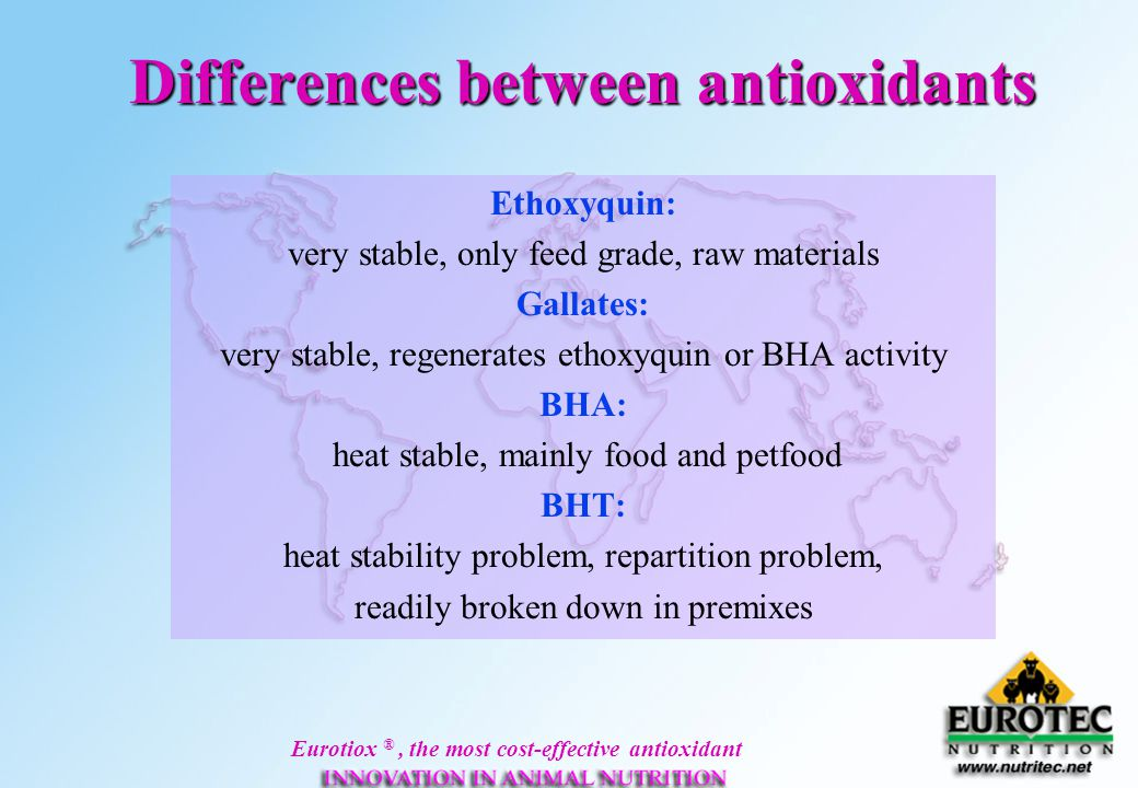 Eurotiox ®, the most cost-effective antioxidant Differences between antioxidants Ethoxyquin: very stable, only feed grade, raw materials Gallates: ver