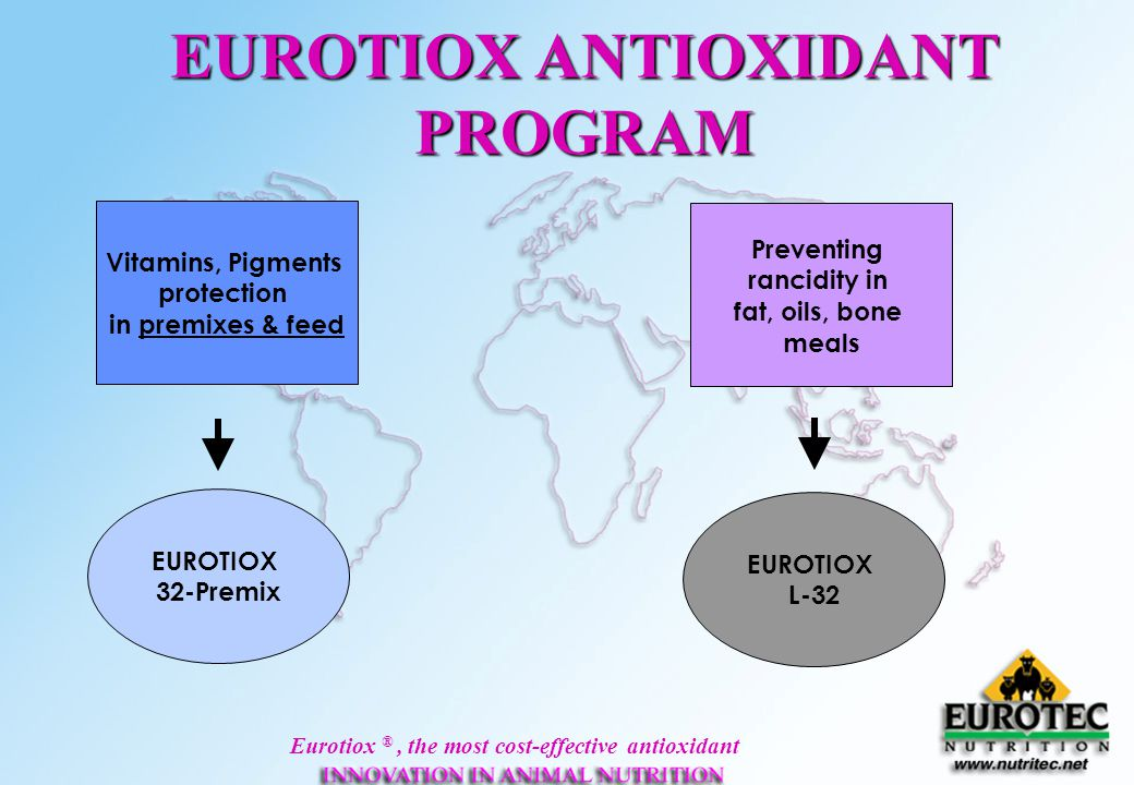 Eurotiox ®, the most cost-effective antioxidant EUROTIOX ANTIOXIDANT PROGRAM Vitamins, Pigments protection in premixes & feed Preventing rancidity in