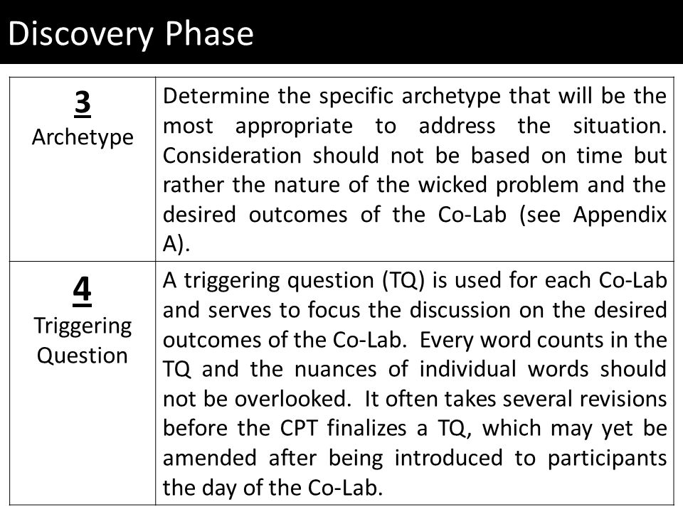 Discovery Phase 3 Archetype Determine the specific archetype that will be the most appropriate to address the situation.