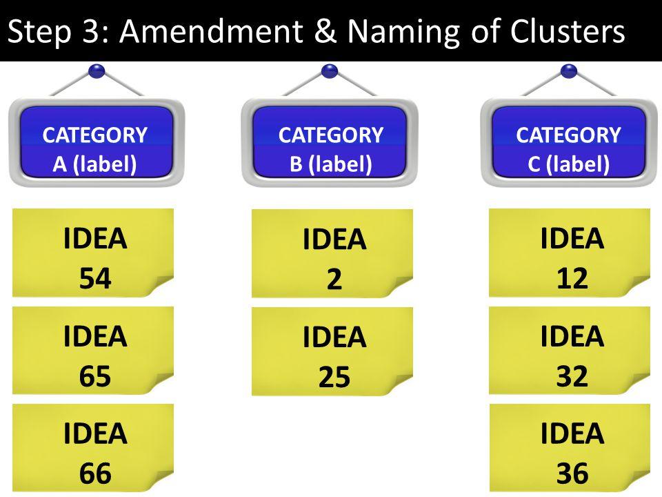 Step 3: Amendment & Naming of Clusters IDEA 54 IDEA 65 CATEGORY A (label) CATEGORY B (label) CATEGORY C (label) IDEA 66 IDEA 2 IDEA 25 IDEA 12 IDEA 32 IDEA 36