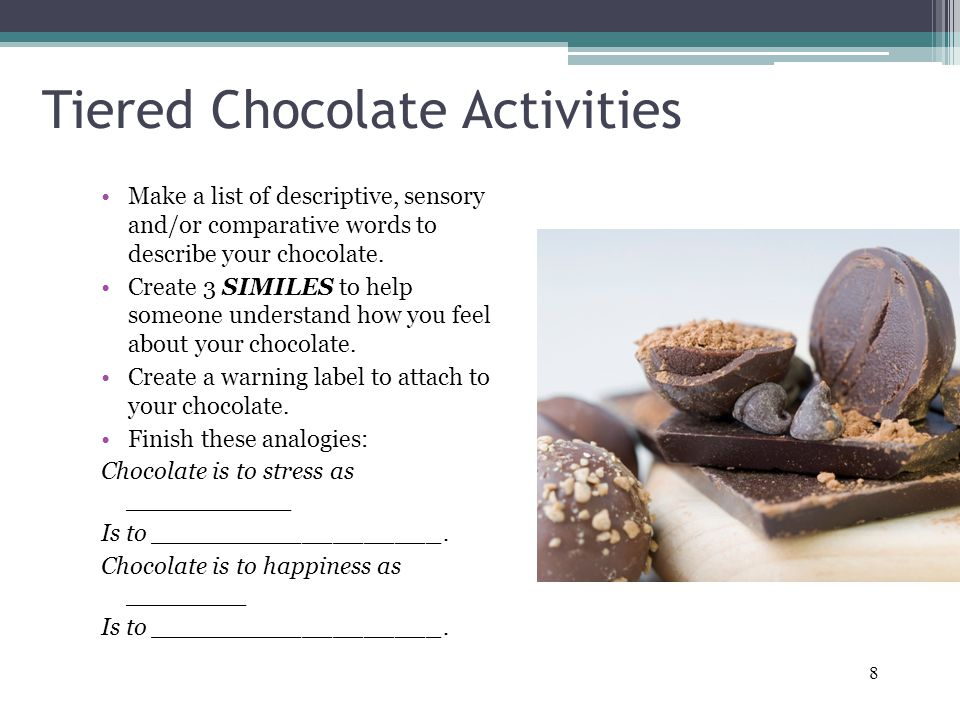 8 Tiered Chocolate Activities Make a list of descriptive, sensory and/or comparative words to describe your chocolate.