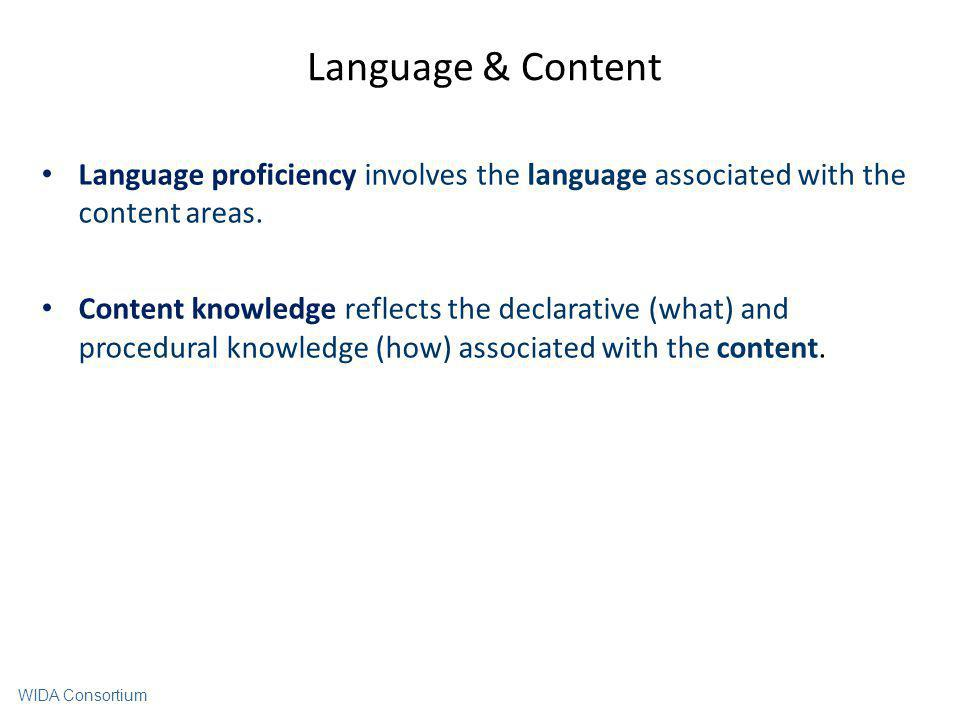 Language & Content Language proficiency involves the language associated with the content areas. Content knowledge reflects the declarative (what) and