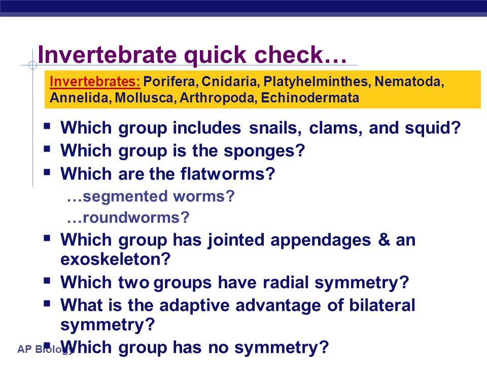 AP Biology Invertebrate: Echinodermata Starfish, sea urchins, sea cucumber radially symmetrical as adults spiny endoskeleton deuterostome loss of bilateral symmetry?