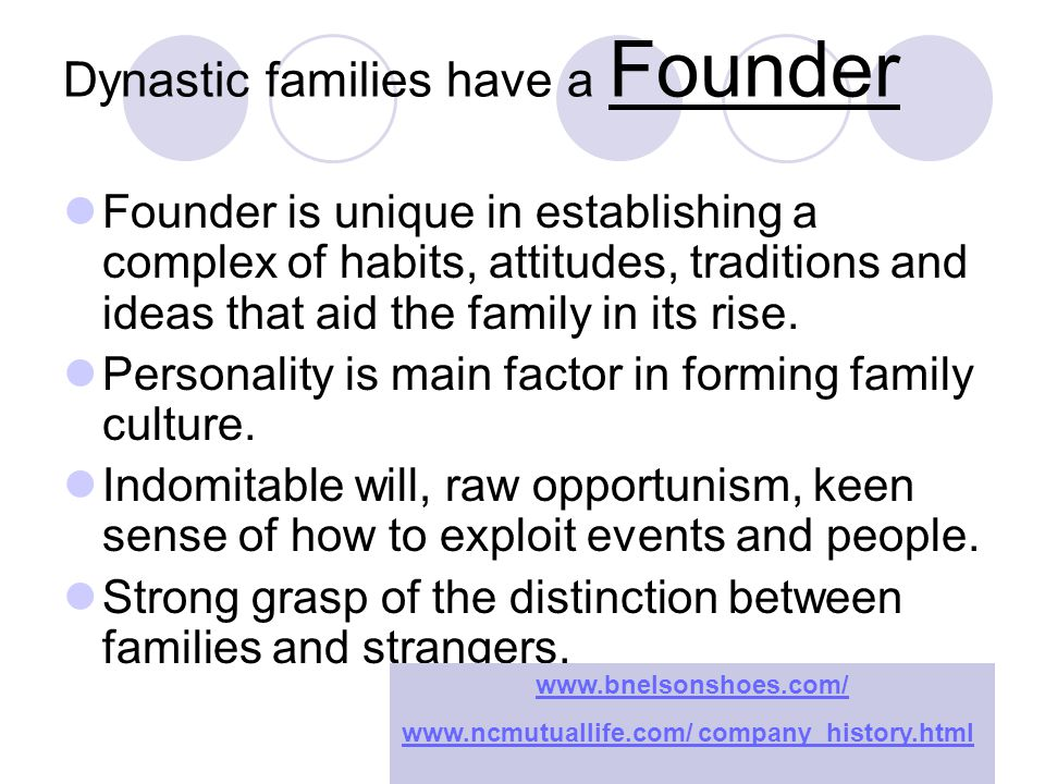 Dynastic families have a Founder Founder is unique in establishing a complex of habits, attitudes, traditions and ideas that aid the family in its rise.