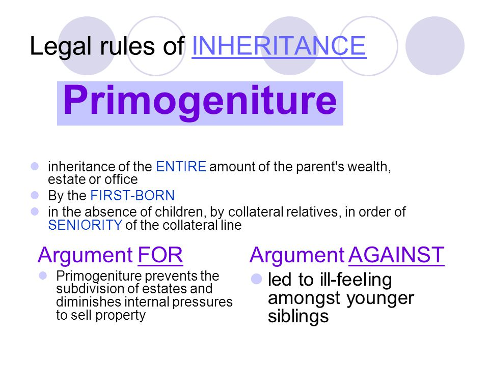 Legal rules of INHERITANCEINHERITANCE inheritance of the ENTIRE amount of the parent s wealth, estate or office By the FIRST-BORN in the absence of children, by collateral relatives, in order of SENIORITY of the collateral line Argument FOR Primogeniture prevents the subdivision of estates and diminishes internal pressures to sell property Primogeniture Argument AGAINST led to ill-feeling amongst younger siblings