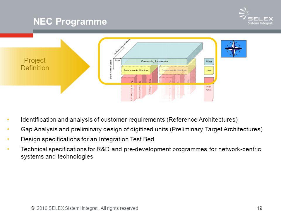 NEC Programme © 2010 SELEX Sistemi Integrati.