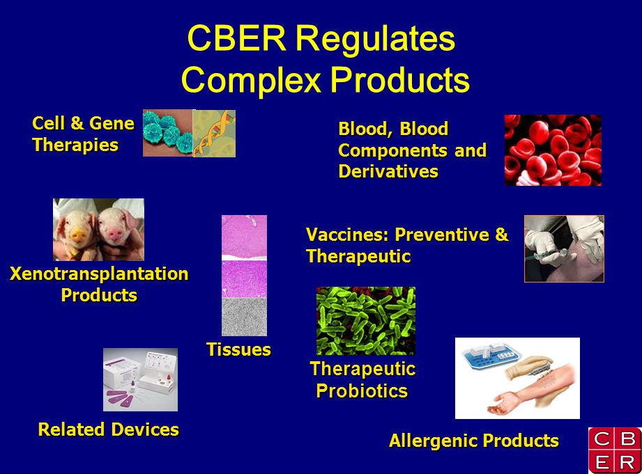 CBER Regulates Complex Products XenotransplantationProducts Tissues Cell & Gene Therapies Blood, Blood Components and Derivatives Vaccines: Preventive & Therapeutic Related Devices Allergenic Products Therapeutic Probiotics