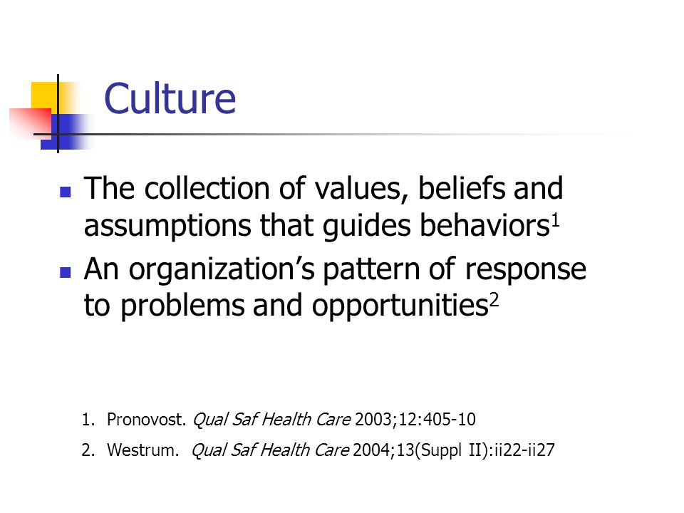 Culture The collection of values, beliefs and assumptions that guides behaviors 1 An organizations pattern of response to problems and opportunities 2
