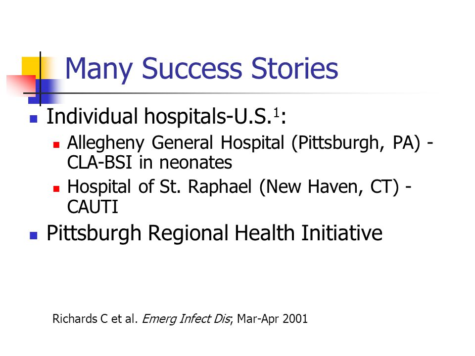 Many Success Stories Individual hospitals-U.S.