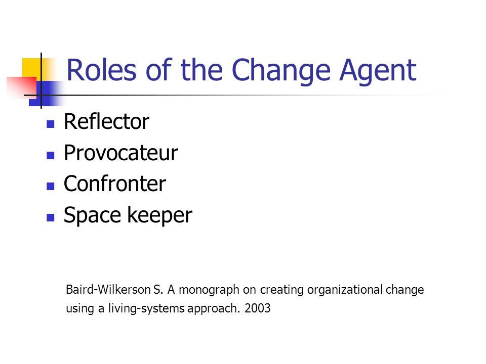 Roles of the Change Agent Reflector Provocateur Confronter Space keeper Baird-Wilkerson S. A monograph on creating organizational change using a livin