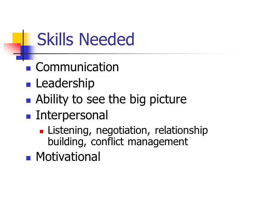 Skills Needed Communication Leadership Ability to see the big picture Interpersonal Listening, negotiation, relationship building, conflict management Motivational