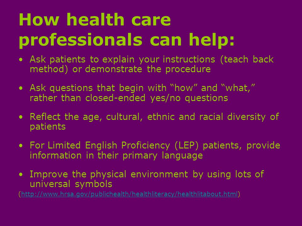 Reflect the age, cultural, ethnic and racial diversity of patients National Standards for Culturally and Linguistically Appropriate Services in Health Care (National CLAS Standards) https://www.thinkculturalhealth.hhs.gov/content/clas.asp