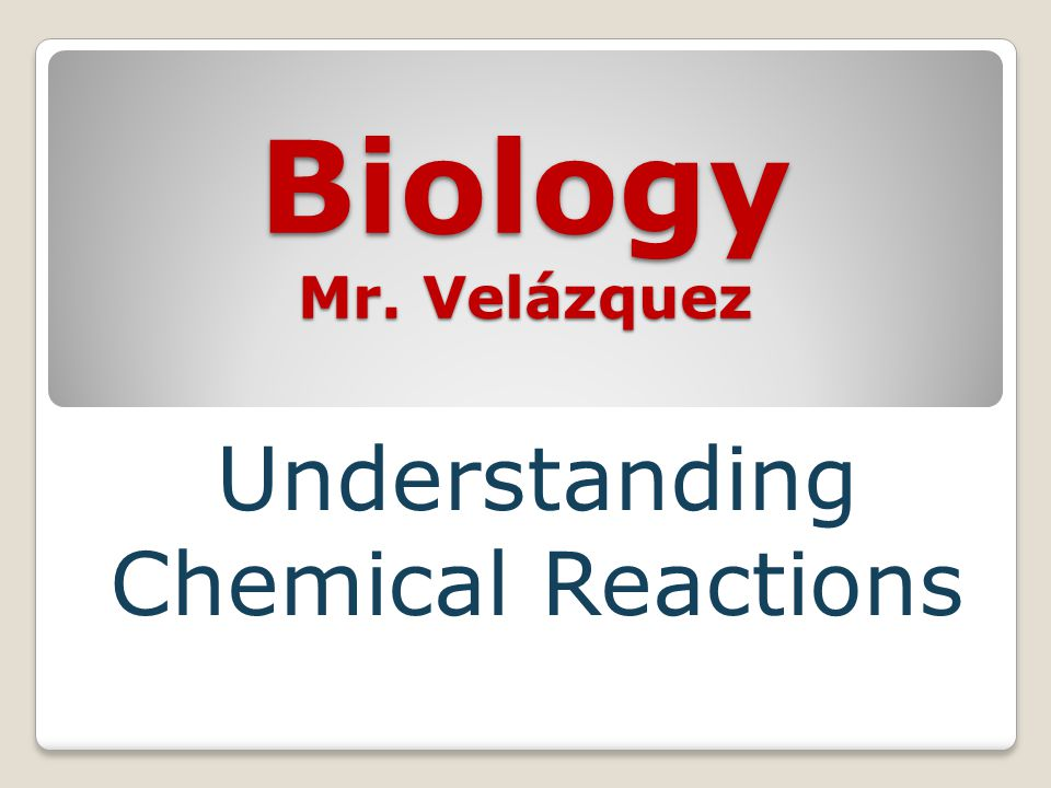 Biology Mr. Velázquez Understanding Chemical Reactions
