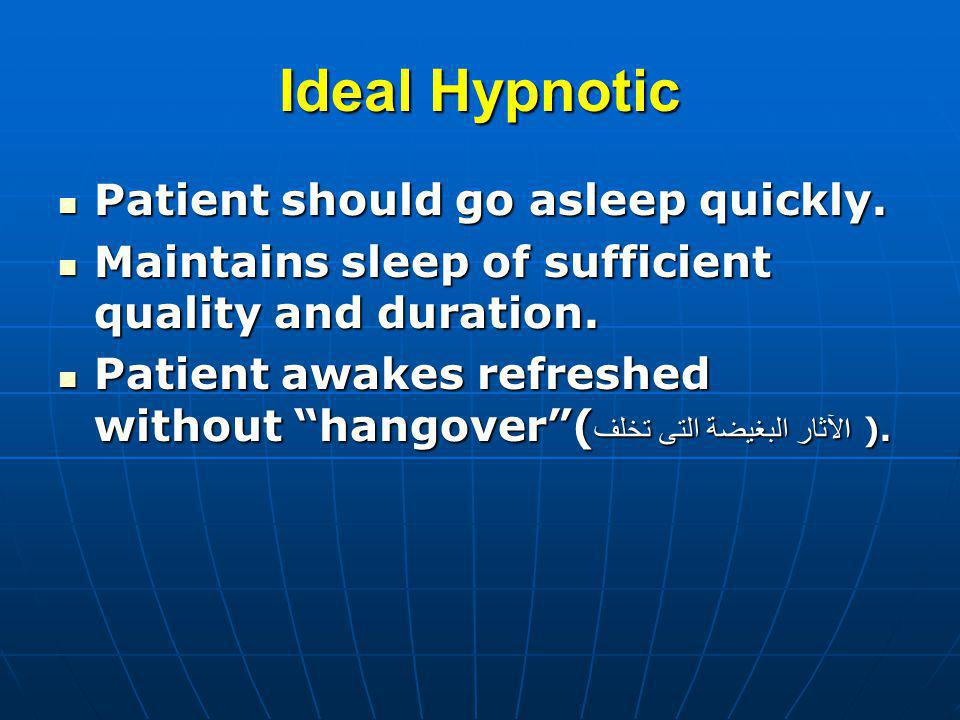 Ideal Hypnotic Patient should go asleep quickly. Patient should go asleep quickly. Maintains sleep of sufficient quality and duration. Maintains sleep