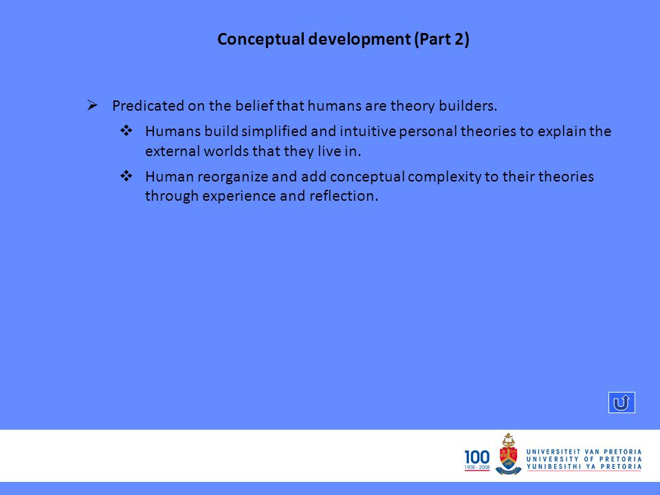 Conceptual development (Part 2) Predicated on the belief that humans are theory builders.