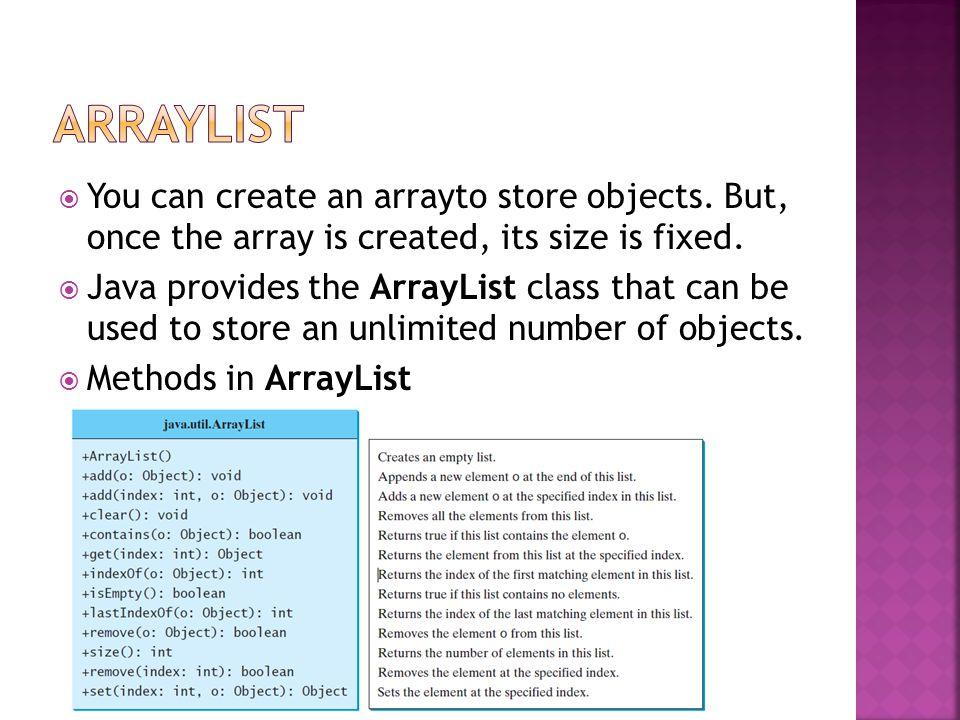 /* ArrayList */ class Car { int speed() { return 100; } void run() { System.out.println( Runing! ); } public class TestArrayList { @SuppressWarnings( unchecked ) public static void main(String[] args) { java.util.ArrayList cityList = new java.util.ArrayList(); cityList.add( Taipei ); cityList.add( Taichung ); cityList.add( Kaushiung ); java.util.ArrayList list = new java.util.ArrayList(); list.add(new Car()); System.out.println(((Car)list.get(0)).speed()); //System.out.println(((Car)list.get(1)).run()); }