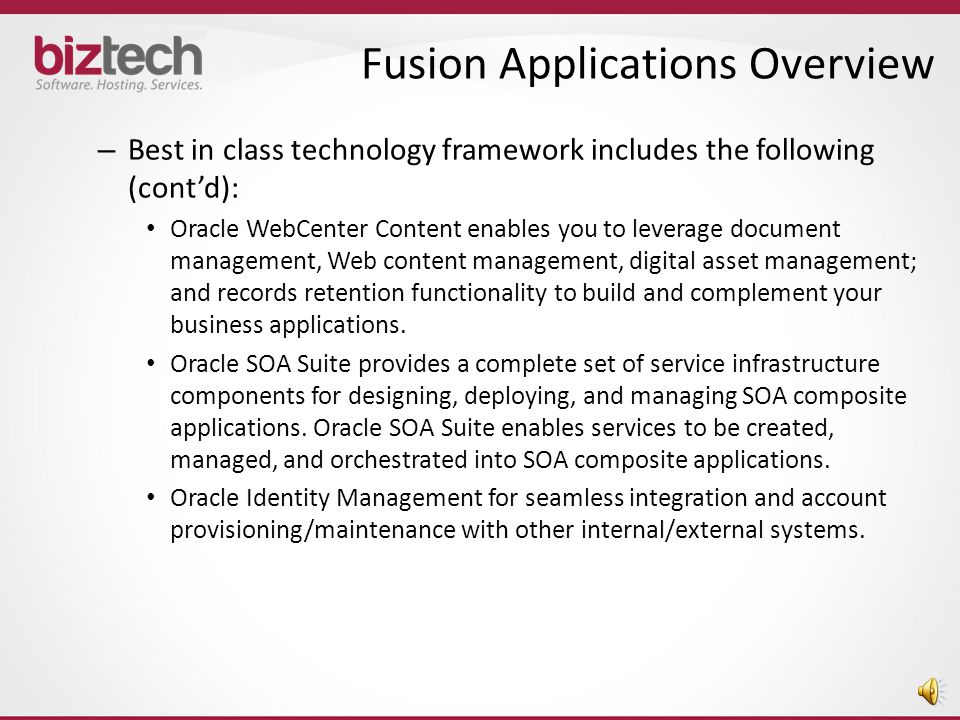 Standards Based Architecture – Highly adaptable, standards based architecture provides superior flexibility – Best in class technology framework includes the following: Oracle WebCenter Portal provides design-time and runtime tools for building enterprise portals, transactional websites, and social networking sites.