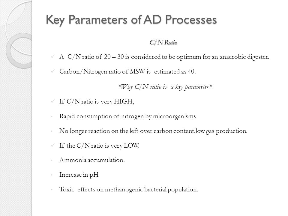 Key Parameters of AD processes 67 pH Value: Optimum biogas production is achieved when the pH value of the input mixture is between 6 and 7.