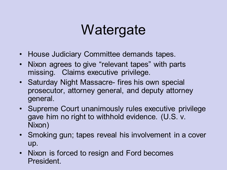 Watergate House Judiciary Committee demands tapes.