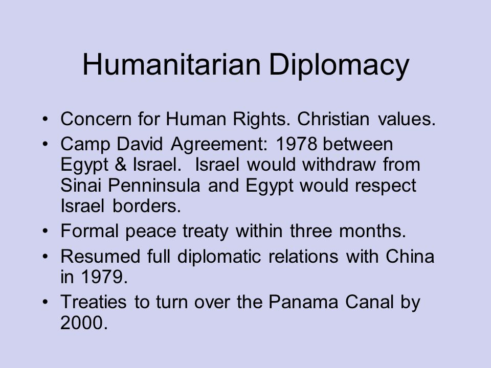 Humanitarian Diplomacy Concern for Human Rights. Christian values.