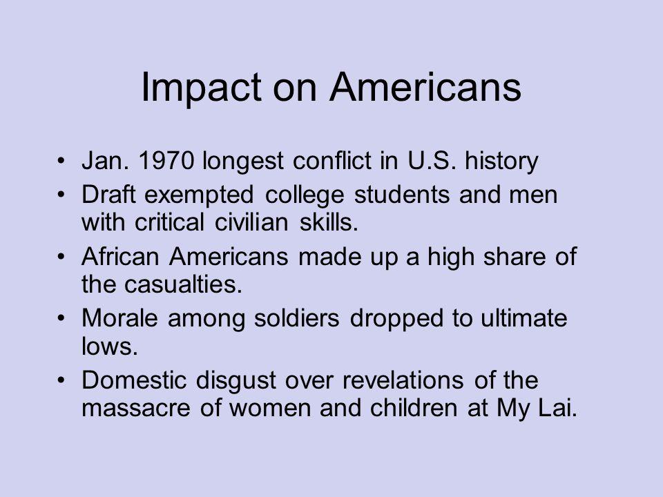 Impact on Americans Jan. 1970 longest conflict in U.S.