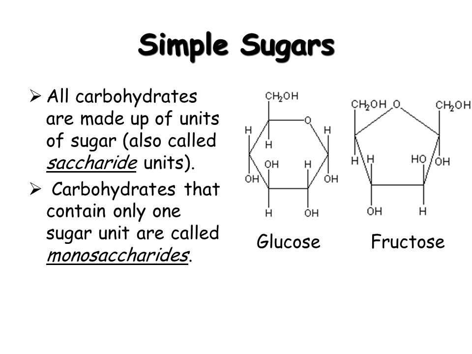 Simple Sugars All carbohydrates are made up of units of sugar (also called saccharide units).