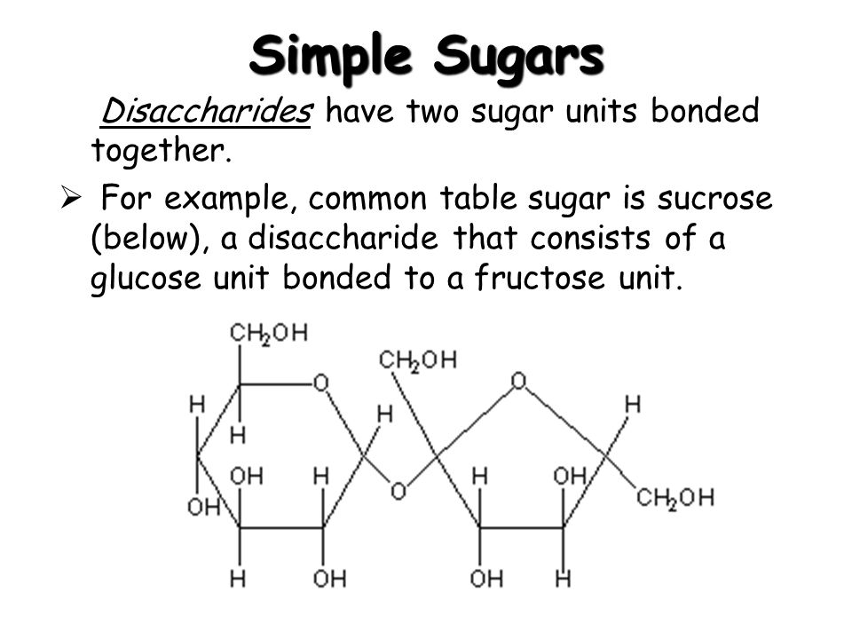 Simple Sugars Disaccharides have two sugar units bonded together.