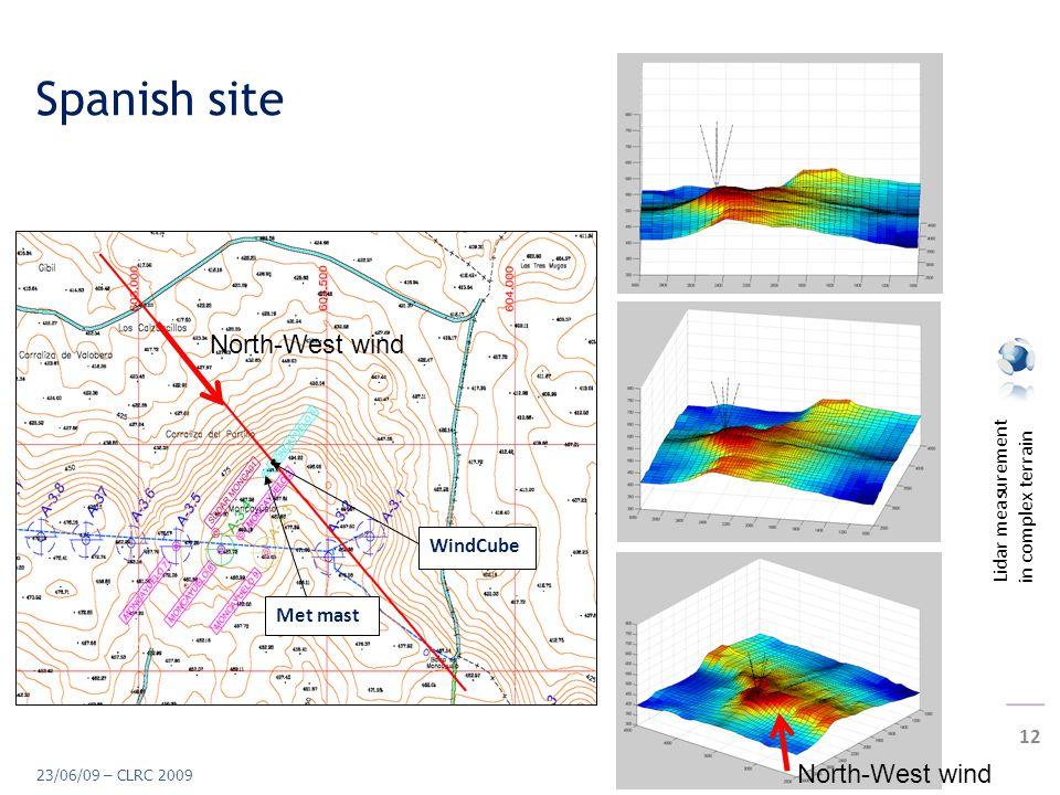 Lidar measurement in complex terrain 12 23/06/09 – CLRC 2009 Spanish site Met mast WindCube North-West wind