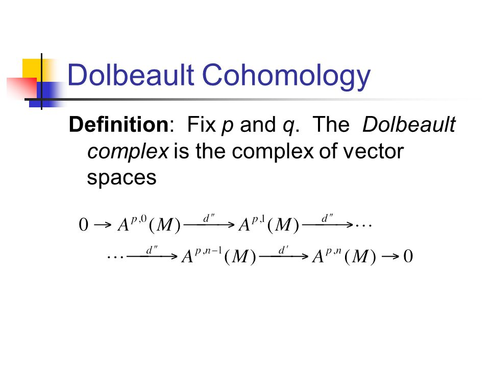 Definition: Fix p and q. The Dolbeault complex is the complex of vector spaces