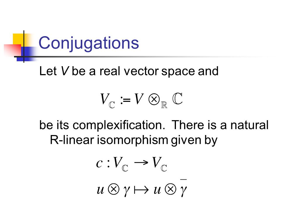 Conjugations Let V be a real vector space and be its complexification.