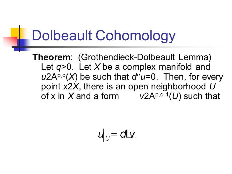 Dolbeault Cohomology Theorem: (Grothendieck-Dolbeault Lemma) Let q>0.