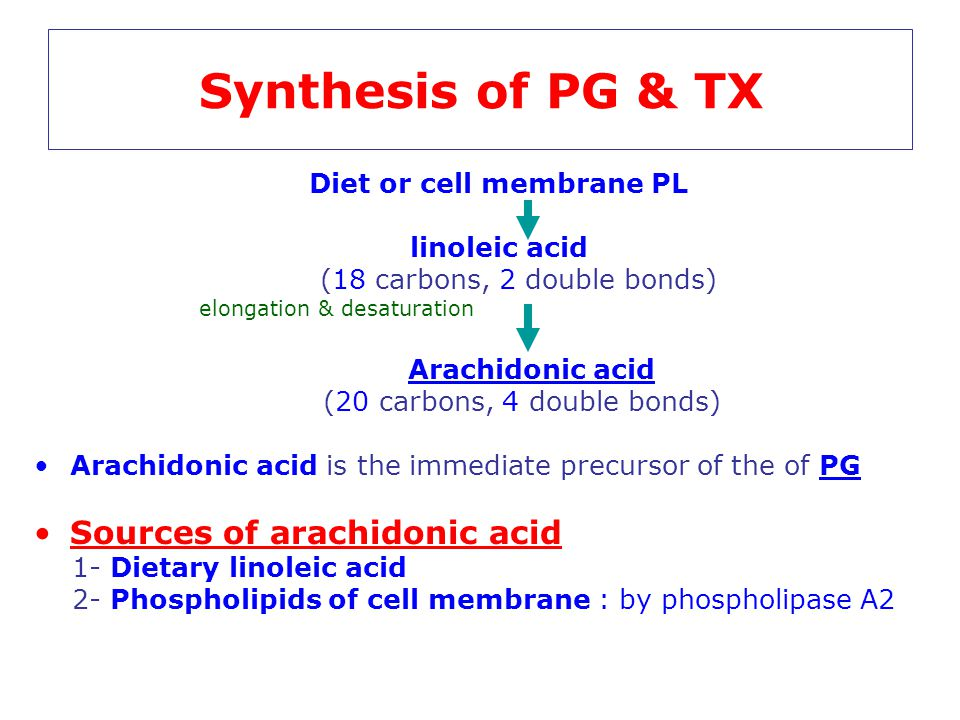 Synthesis of PG & TX Diet or cell membrane PL linoleic acid (18 carbons, 2 double bonds) elongation & desaturation Arachidonic acid (20 carbons, 4 dou