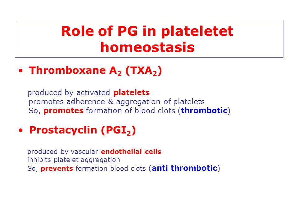 Role of PG in plateletet homeostasis Thromboxane A 2 (TXA 2 ) produced by activated platelets promotes adherence & aggregation of platelets So, promot