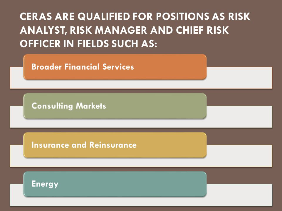 CERAS ARE QUALIFIED FOR POSITIONS AS RISK ANALYST, RISK MANAGER AND CHIEF RISK OFFICER IN FIELDS SUCH AS: Broader Financial ServicesConsulting MarketsInsurance and Reinsurance Energy