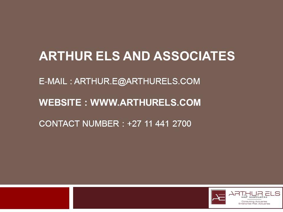 ARTHUR ELS AND ASSOCIATES E-MAIL : ARTHUR.E@ARTHURELS.COM WEBSITE : WWW.ARTHURELS.COM CONTACT NUMBER : +27 11 441 2700